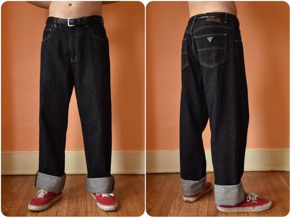 80s 90s Guess Jeans Urban Fit Black Denim Wide Leg