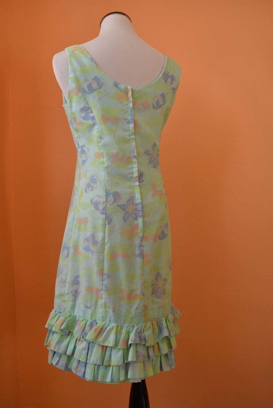 60s Serbin Tiger & Floral Print Ruffle Hem Mini Dress // Small
