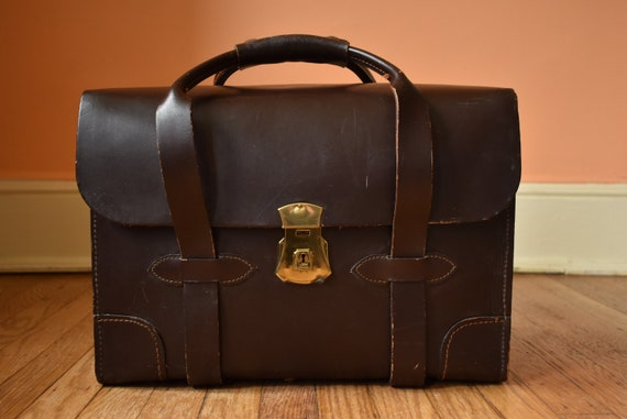 50s 60s Military Issue Leather Briefcase Travel Ba