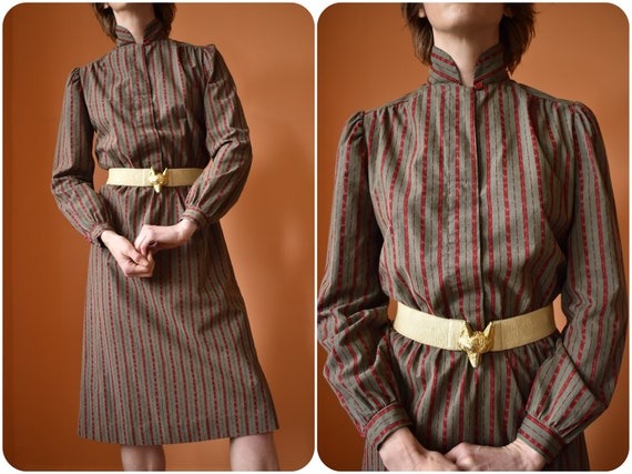 50s 60s High Collar Long Sleeve Cotton Striped Dre