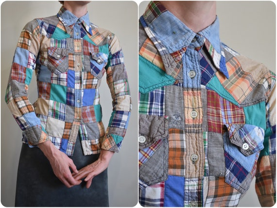60s 70s Madras Patchwork Long Sleeve Blouse w Dagg
