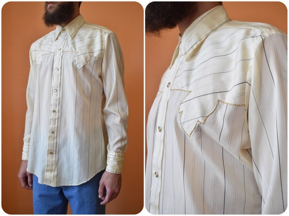 70s DeeCee Disco Western Shirt Satin Light Yellow