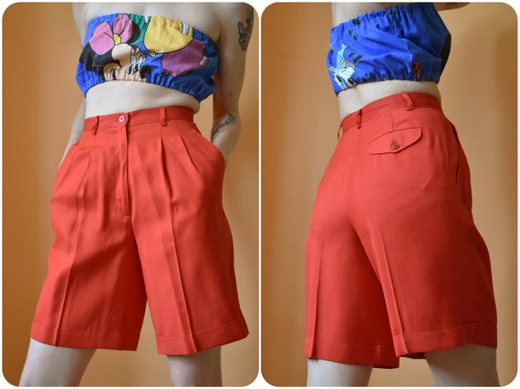 80s Red Linen High Waist Safari Shorts w Pleat Fro