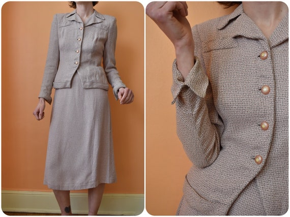 40s Pink Skirt and Blazer Blouse Set Victory Suit