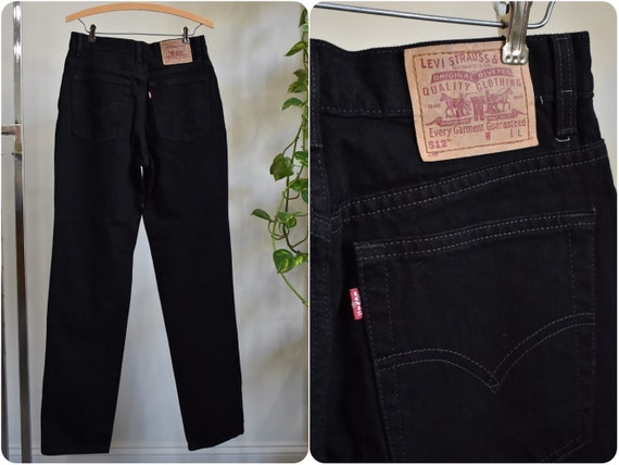 Vintage Levis 512 Black Jeans // High Rise Slim Fi