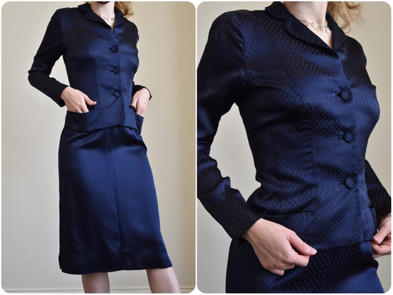 Vintage 1940s Navy Satin Victory Suit // 40s WWII