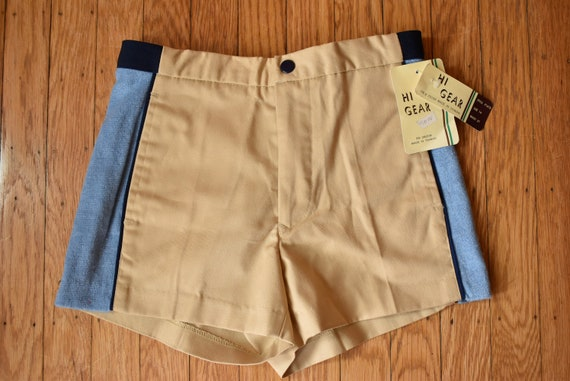Vintage 1970s Square Cut Khaki and Terry Cloth Col