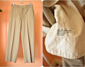 Vintage Midcentury Military Issue Wool Khaki Slacks // Tropical M-1 // 31 x 30