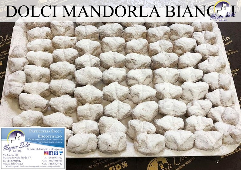 White Almond Sweets 100% sicily Sweet biscuits 1 kg