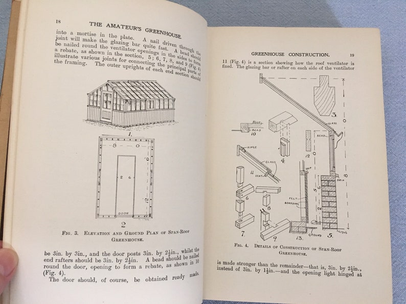 Vintage Gardening Book , The Amateur's Greenhouse by Sanders , 1922