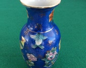 Small Satsuma Decorative Vase, Vintage Porcelain Vase, Handpainted, Vintage Satsuma Vase, Blue Vase, Asian Decoration, Collectible Art