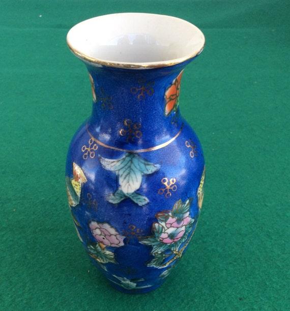 Small Satsuma Decorative Vase Vintage Porcelain Vase Handpainted Vintage Satsuma Vase Blue Vase Asian Decoration Collectible Art