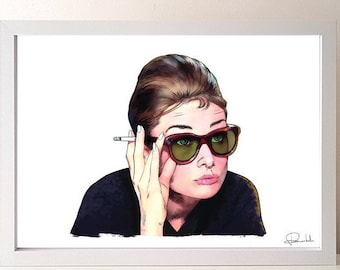 Breakfast at Tiffany's poster- Holly Golightly print - Audrey Hepburn fan - Breakfast at Tiffany's art - Truman Capote - Movie poster
