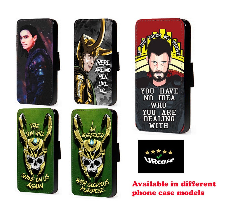 promo code ab2f9 379e4 Loki Thor Inspired phone case faux leather flip case card Avengers Inspired  wallet case Loki quotes mobile cover Iphone case Samsung case