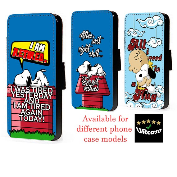 Snoopy Inspired phone case faux leather flip case card Charlie   Etsy