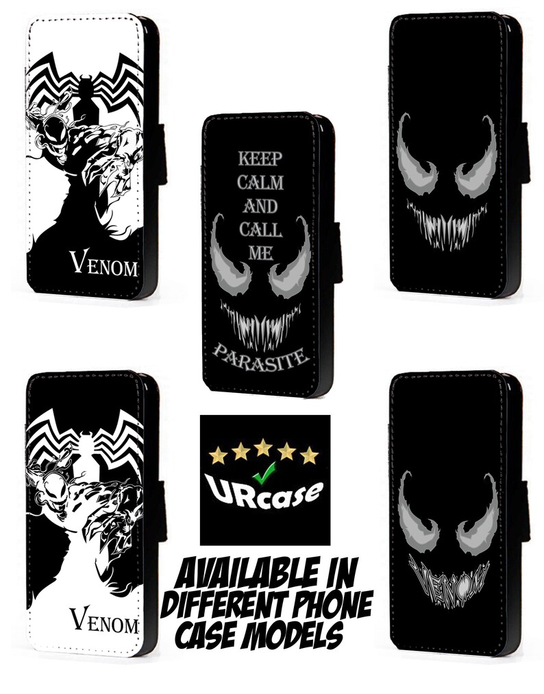 new style f45a7 597d3 Marvel Venom Inspired phone case faux leather flip case card Parasite Name  Smile wallet case Black White mobile case for Iphone Samsung HTC