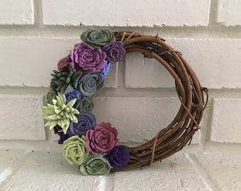 Green and Purple felt succulent wreath