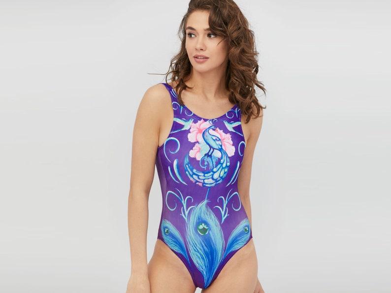 7cfb7a453bdfb Purple Sexy Swimsuit Bodysuit Bikini Swim outlet One piece   Etsy