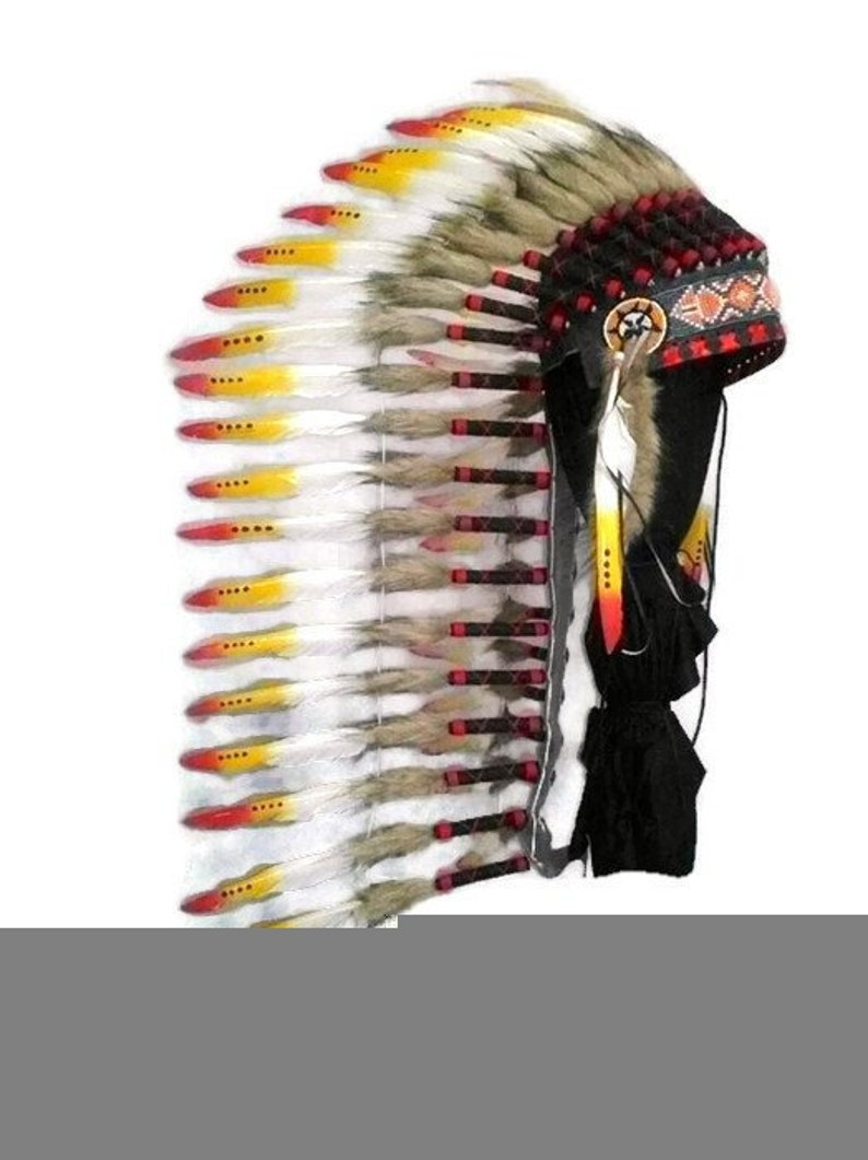 Indian Headdress replica, Native American warbonnet style, Chief indian  hat, Indian costume clothing, Indian costume, Indian hat replica