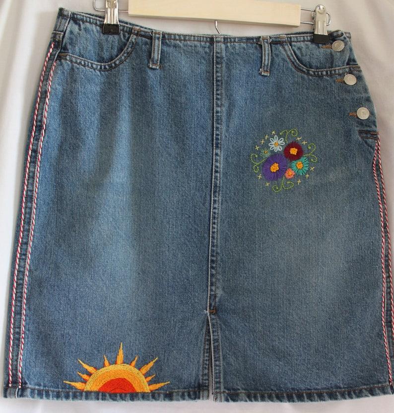 a76508219 Embroidered Denim jean skirt Gap clothing deadhead clothing | Etsy