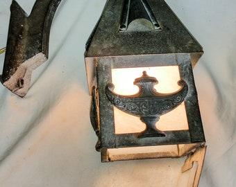 Arts & Crafts Cast Iron Sconce - Porch Light - White Glass