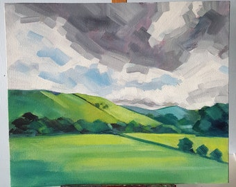 """A Wild and Dramatic Sky - original alla prima acrylic sky painting, skyscape, storm clouds over English landscape, 10x12"""" on canvas board"""