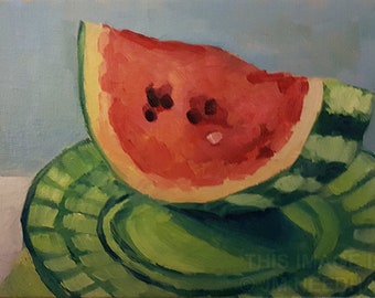 Watermelon Slice - original oil still life painting on canvas board