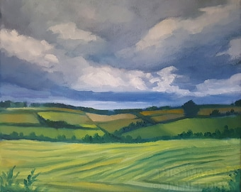 """Looking Over Fields, Yorkshire - original english oil landscape painting on canvas, alla prima skyscape, nature art, 8x10"""""""