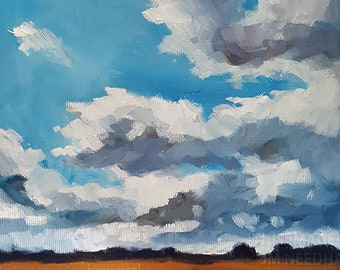 "Sky Over The Fens - original oil landscape painting with clouds, 5x7"" on canvas board"
