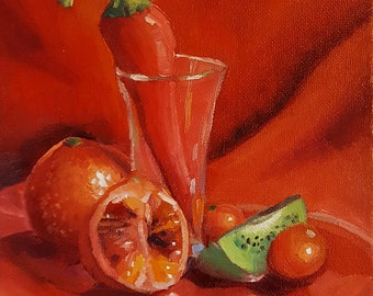"Red: The Sequel - original alla prima oil still life painting, 6x6"" on canvas board"