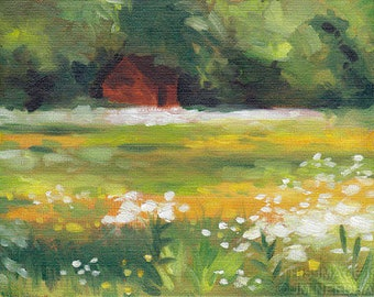 """Little Red Shed 3 - 6x8"""" plein air oil landscape painting on canvas board"""