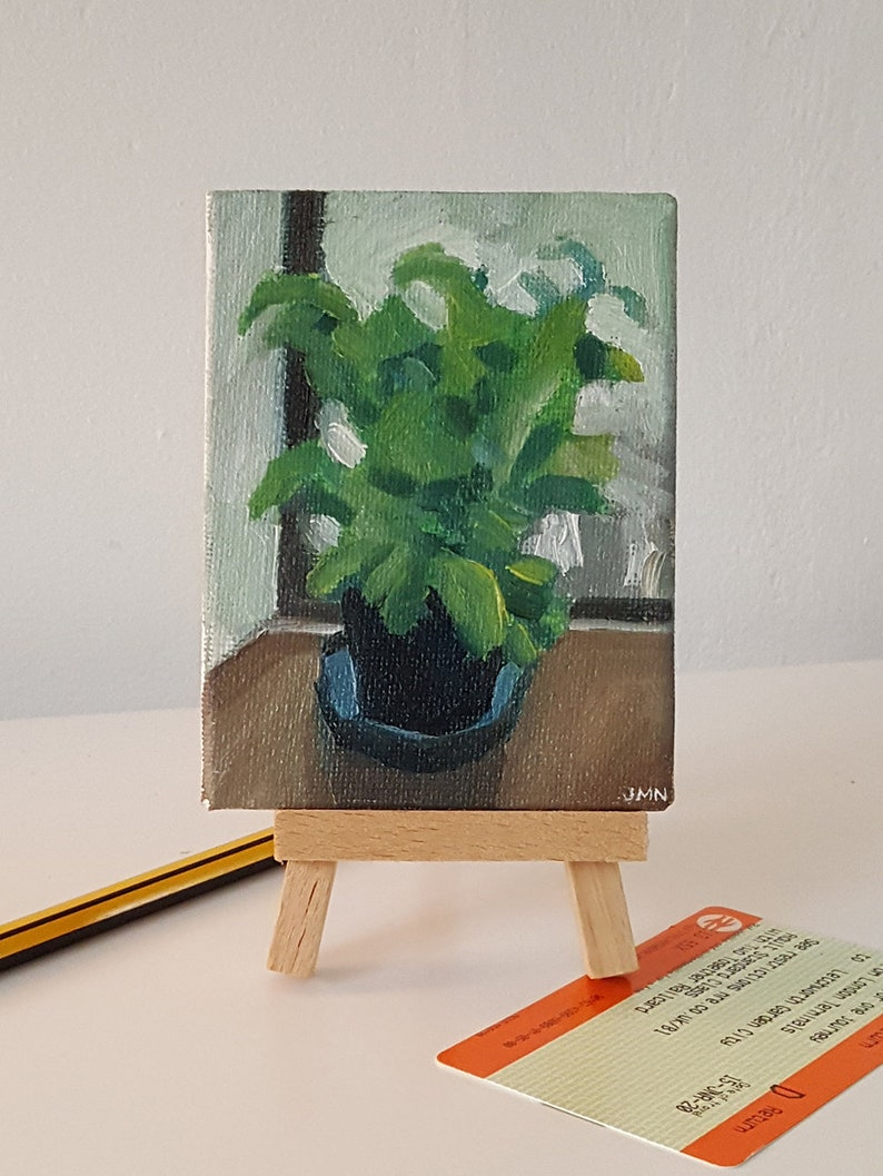Basil Plant By The Window  original painting oil still life image 0