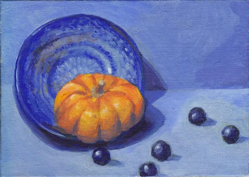 Munchkin Pumpkin and Blueberries  original acrylic still image 0