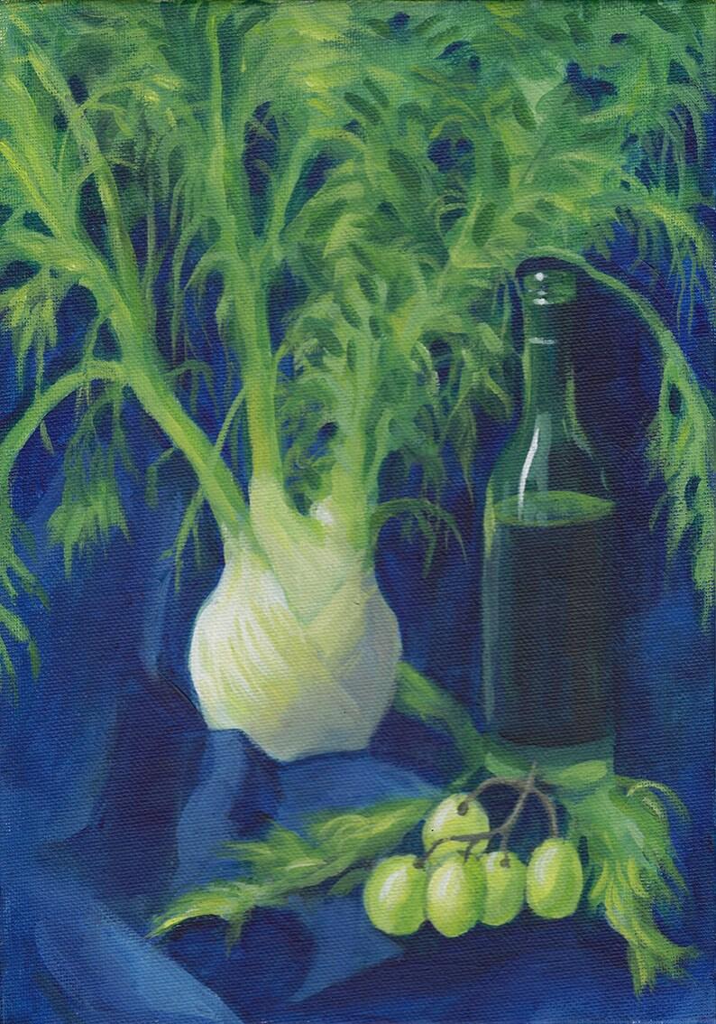 Fennel and Grapes on Blue  original alla prima acrylic still image 0