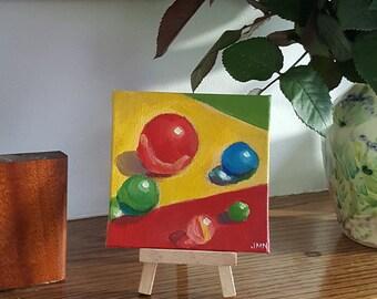 Marbles - original acrylic miniature still life painting on canvas board