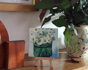 Daisies - original acrylic miniature floral still life painting