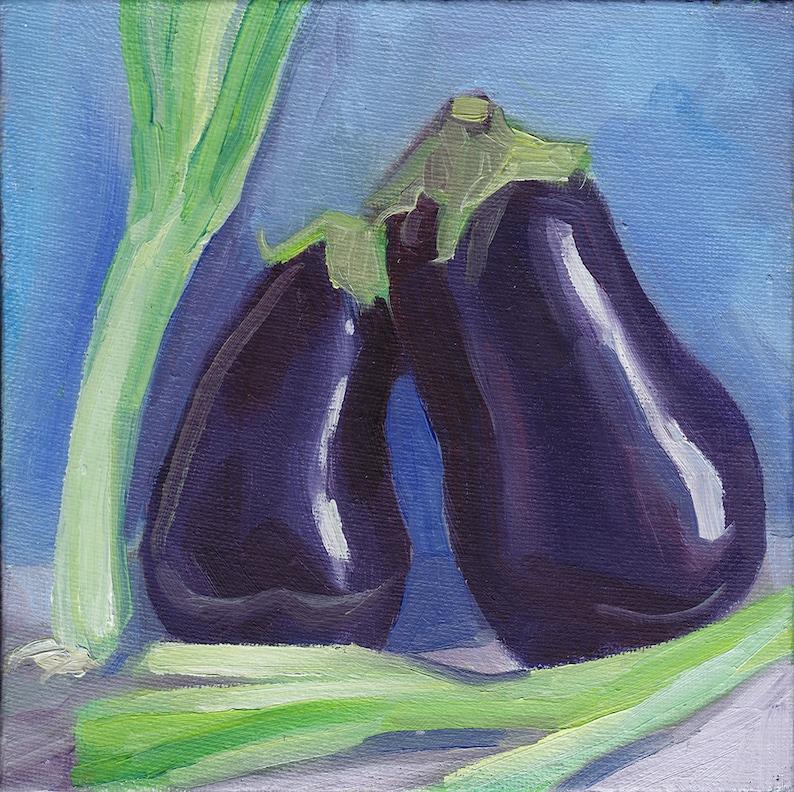 Aubergines and Scallions original alla prima oil still life image 0