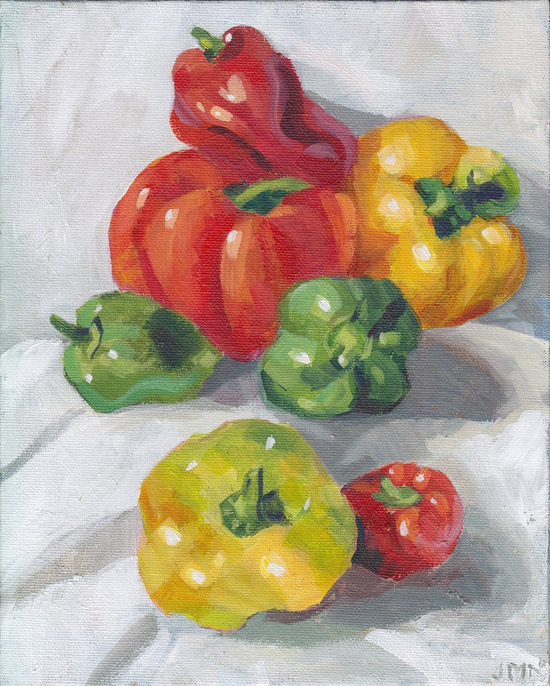 A Pile of Peppers  original acrylic still life of homegrown image 0