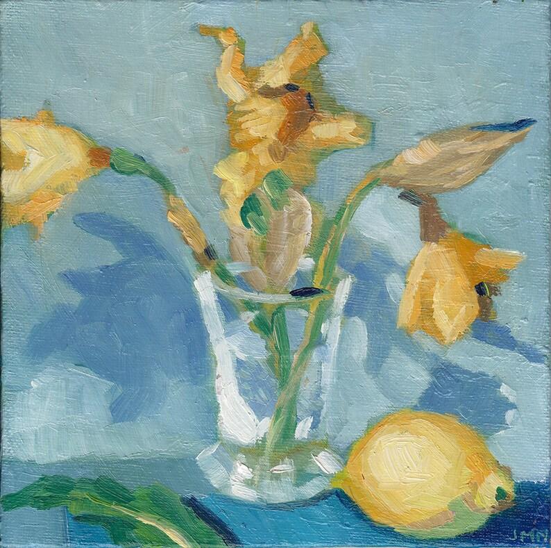 Fading  Daffodils and Lemon on Blue Still Life original image 0