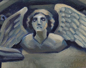 """Cambridge Angel Study, original oil daily painting of English church stone carving, 5x7"""" on canvas board"""