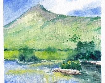 "The Killary in Watercolour, small original watercolour landscape painting of Ireland, 6x6"""