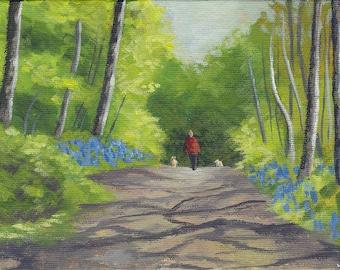 "Dog Walker, Bluebell Woods - original painting, acrylic landscape, panshanger park, nature, forest path, unframed art 5x7"" canvas board"