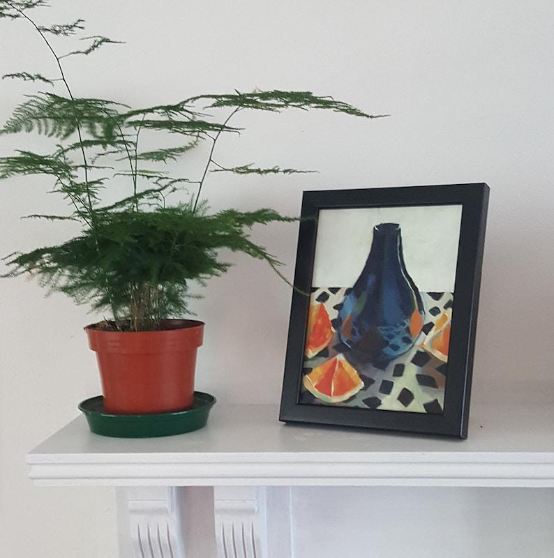 Purple Vase with Oranges  small original acrylic still life image 0