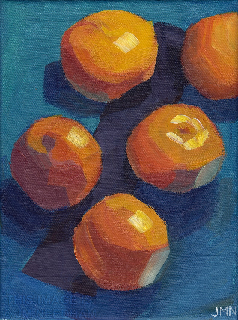 Clementines on the Queue  original small food art acrylic image 0