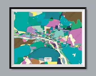 f956983f516d Umeå - imprimer carte de Suède - Chroma contemporain moderne couleur carte  Poster reproduction - détaillée et personnalisée Illustration