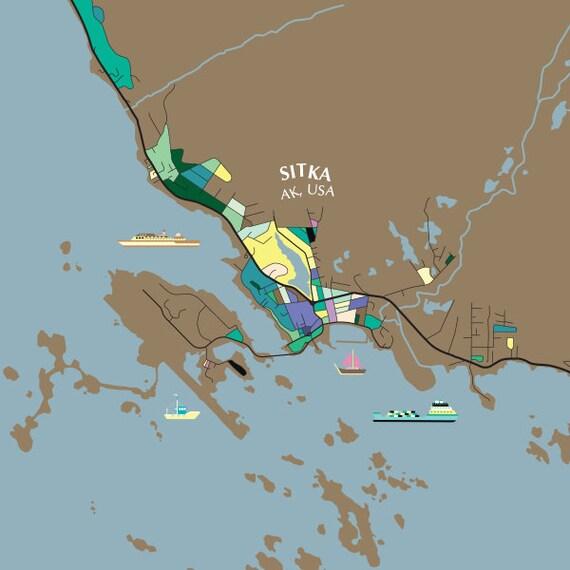 Sitka Alaska Usa Map Print Modern Contemporary Chroma Etsy