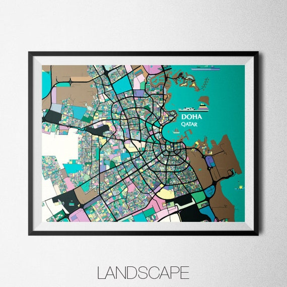 Doha - Qatar Map Print - Modern Contemporary Chroma Color Map Poster Doha On The World Map on bordeaux on world map, manama on world map, riyadh on world map, sanaa on world map, bahrain island on world map, thessaloniki on world map, cincinnati on world map, fuzhou on world map, jeddah on world map, gdansk on world map, dushanbe on world map, miami on world map, kano on world map, qatar on world map, laccadive sea on world map, pristina on world map, bhutan on world map, makkah on world map, belize city on world map, yerevan on world map,