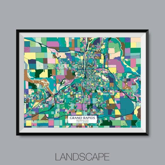 Grand Rapids Michigan Usa Map Print Modern Contemporary Etsy