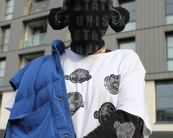 White LINO printed black long sleeve