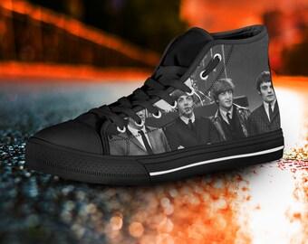 The Beatles shoes, The Beatles High Tops, The Beatles Sneakers, Black High Tops, The Beatles Converse unisex, men's, women's, kids shoes